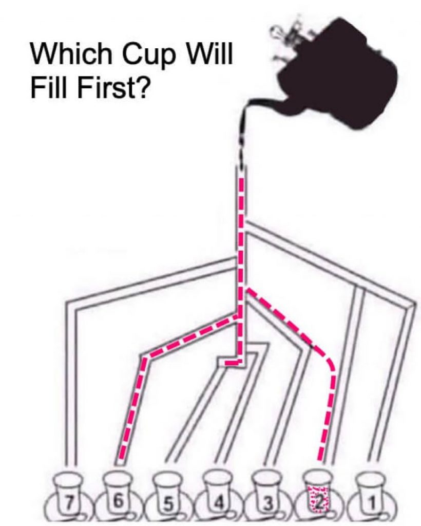 Which cup will fill first Answer